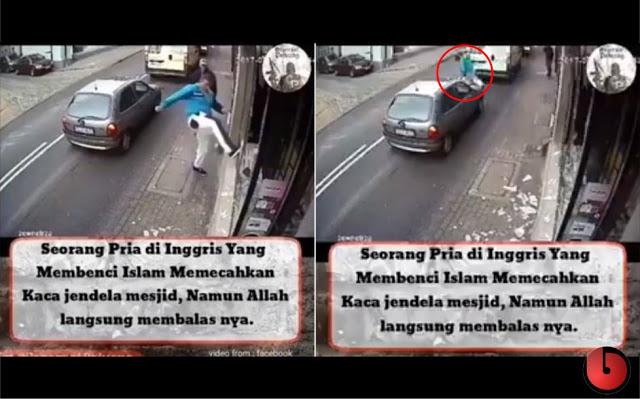 Rekaman CCTV: Pria Inggris Pembenci Islam Merusak Masjid, Dan Allah Langsung Membalasnya