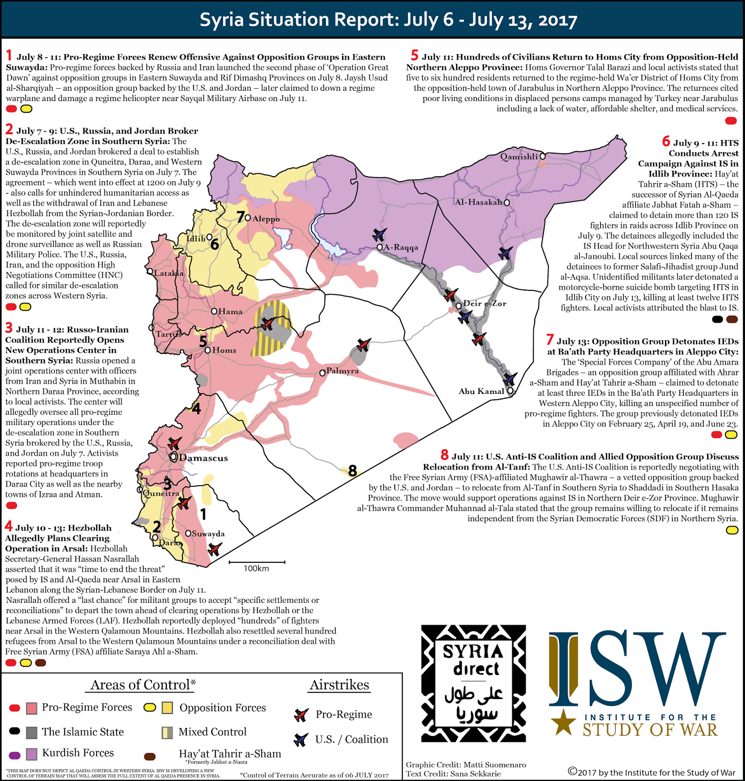 Syria Situation Report: June 29 - July 27, 2017
