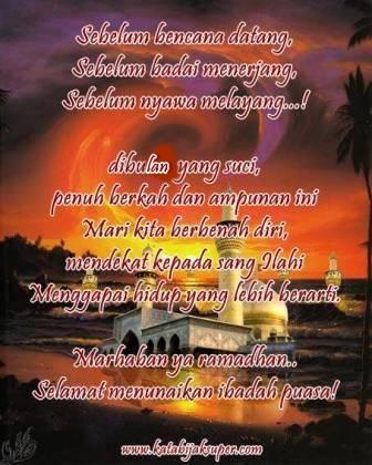 gambar kata ucapan selamat puasa ramadhan dengan gambar unik dan lucu