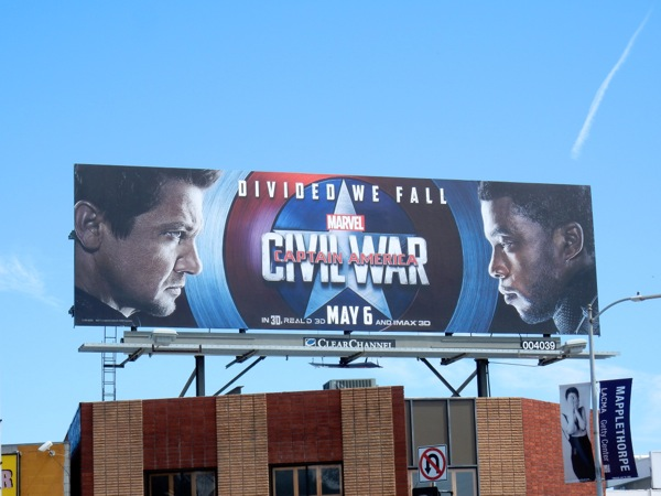 Captain America Civil War Hawkeye Black Panther billboard