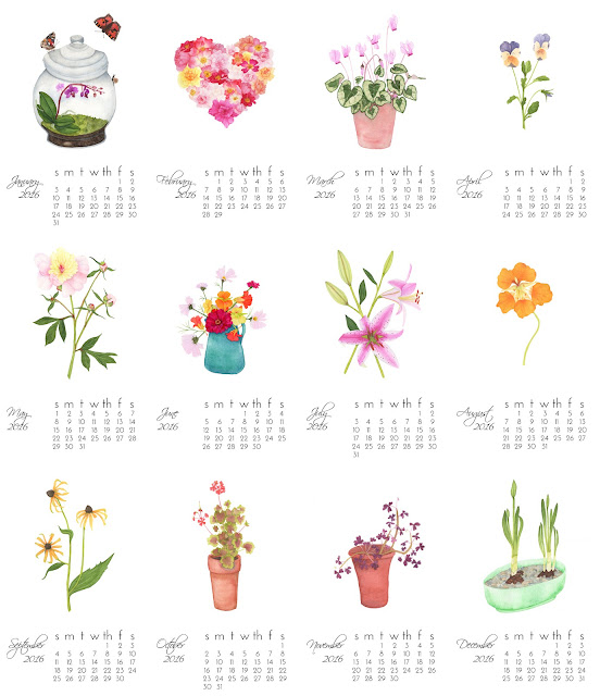 watercolor calendar, garden year, art prints, watercolor prints, Anne Butera, My Giant Strawberry