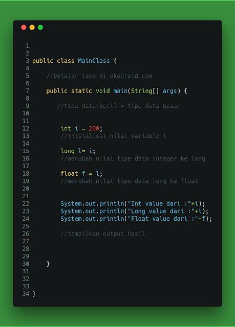 Contoh Code Implicit Casting Java