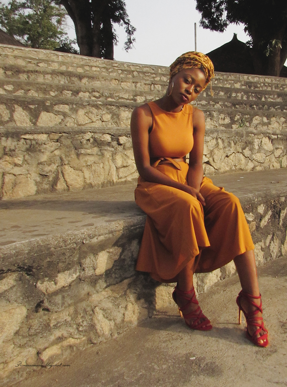 headwrap, leopard print, culottes jumpsuit, mustard, pop of colour, zara strappy sandals