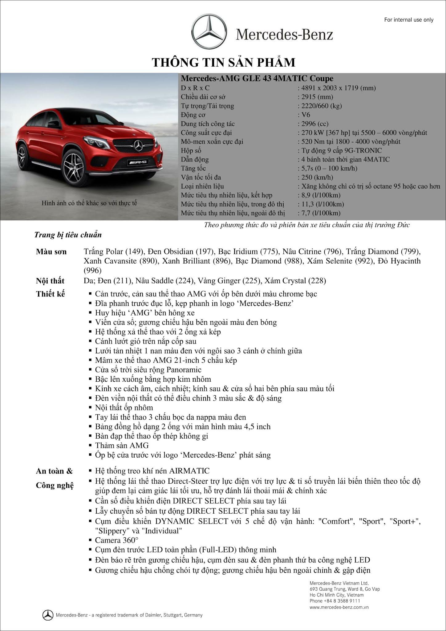 Bảng thông số kỹ thuật Mercedes AMG GLE 43 4MATIC Coupe 2018