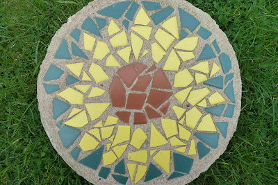 Sunflower mosaic stepping stone
