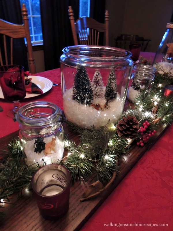 Christmas terrarium for centerpiece from Walking on Sunshine Recipes