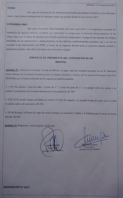 Disposición 28/2017: Autorización de pago al proveedor Balverdi Jesús Vicente, por trabajos en establecimientos con código: JI913, ES10, EP46.