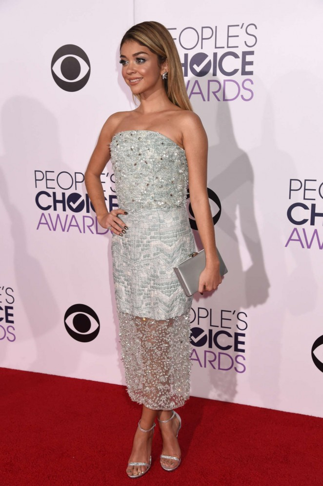 Sarah Hyland in an embellished strapless dress at the 2015 People's Choice Awards in LA