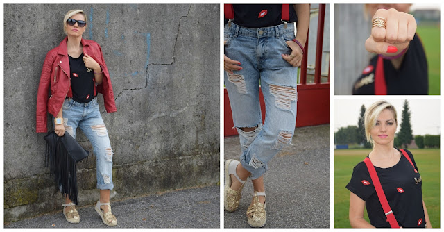jeans boyfriend strappati chiodo pelle rosso ripped boyfriend jeans red biker jacket mariafelicia magno fashion blogger color block by felym fashion blog italiani fashion blogger italiane blog di moda blogger italiane web influencer italiane