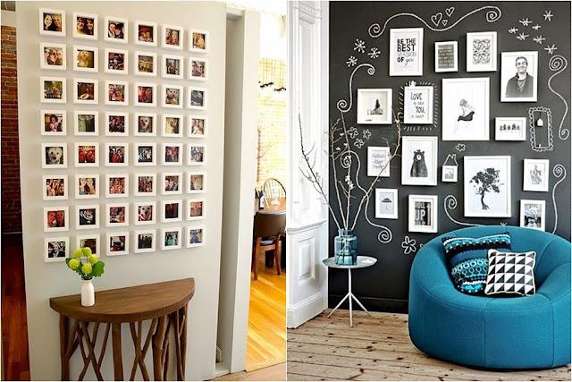 Mural de fotos com quadros