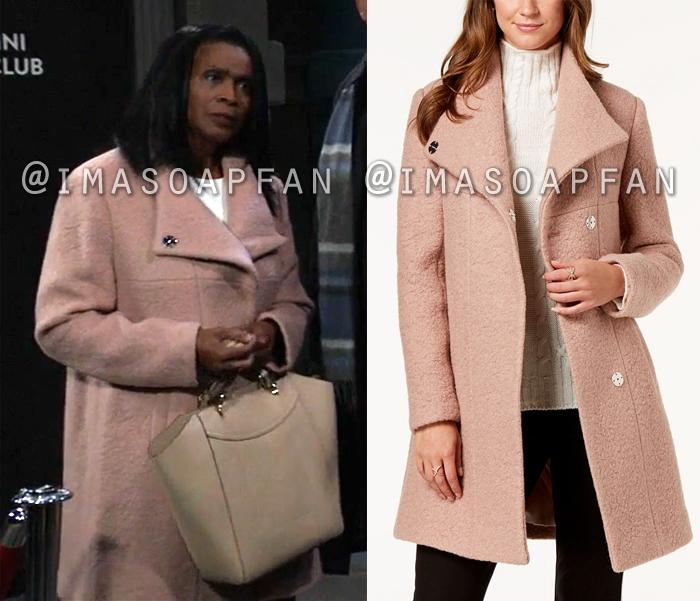 Yvonne Godfry, Janet Hubert, Blush Pink Boucle Coat, General Hospital, GH