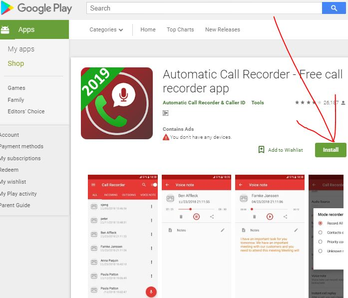 Automatic Call Recorder App for Android