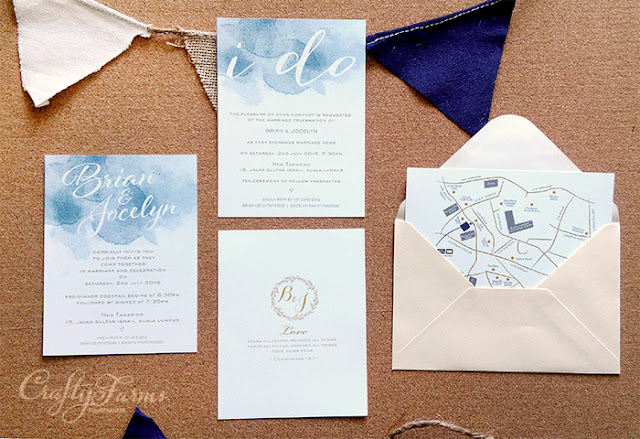 Dusty Blue Watercolour Themed Wedding Invitation