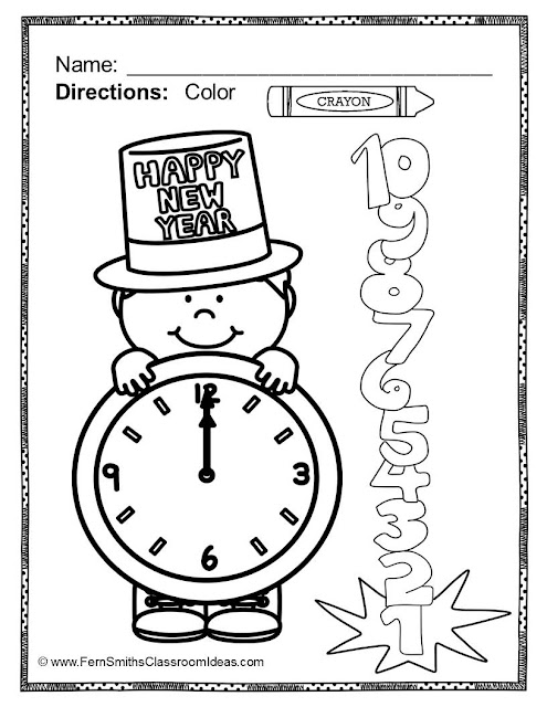 Fern Smith's Classroom Ideas Freebie Friday ~ FREE Color For Fun New Years and Winter Coloring Pages