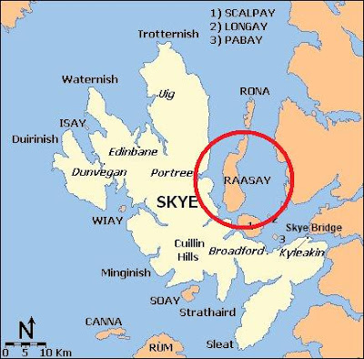 Map showing the location of Raasay
