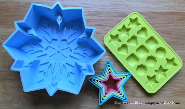 Silicone moulds and cookie cutters in my Bake Box