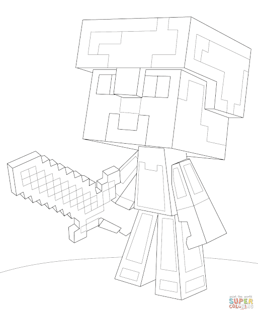 Click The Minecraft Steve Diamond Armor Coloring Pages