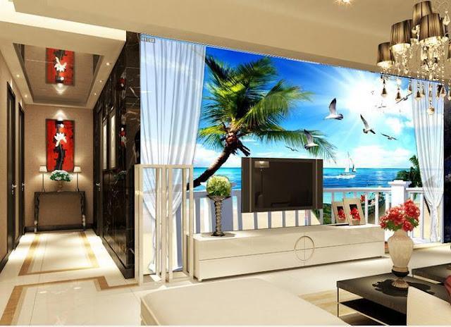 tapet natur fototapet 3d strand hav fåglar palm balkong utsikt