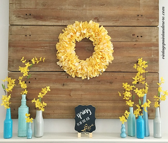 Vintage Paint and more... a spring mantel done in all blue and yellow diy projects