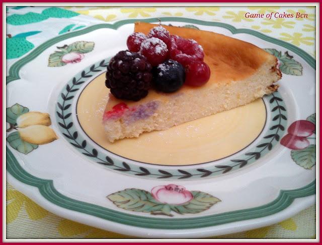 Foto de una porción del Pastel de queso ricotta y mascarpone