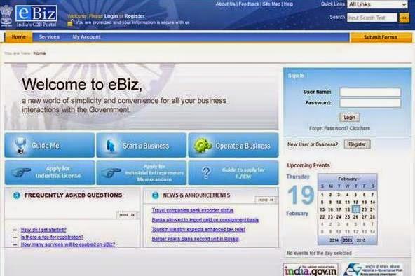 'eBiz' portal www.ebiz.gov.in