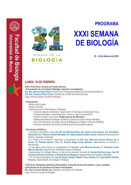 Ya tenemos el programa de la XXXI Semana de Biología de la UMU.