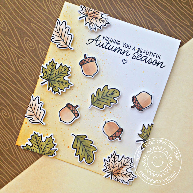 Sunny Studio Stamps: Beautiful Autumn Falling Acorns and Leaves Autumn Themed Card by Franci Vignoli