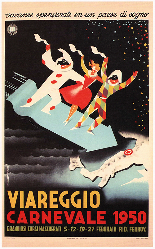 Viareggio Carnevale - Vintage Italian Advertising Poster, advertising, classic posters, food, free download, free posters, free printable, graphic design, italian poster, printables, retro prints, vintage, vintage posters, vintage printables