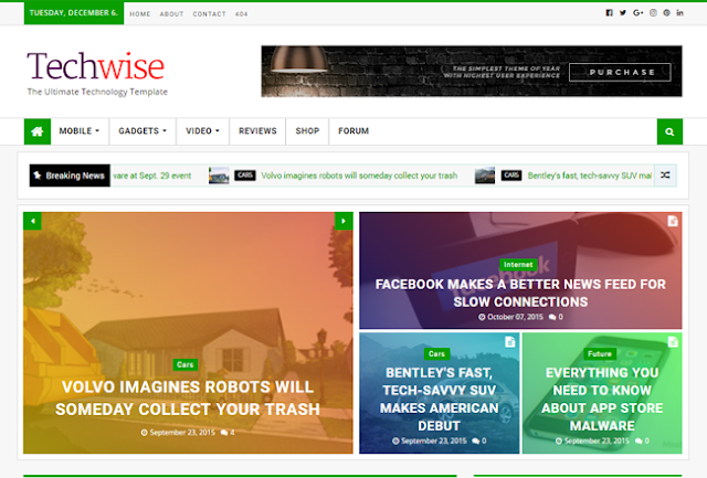 Techwise Magazine Blogger Template