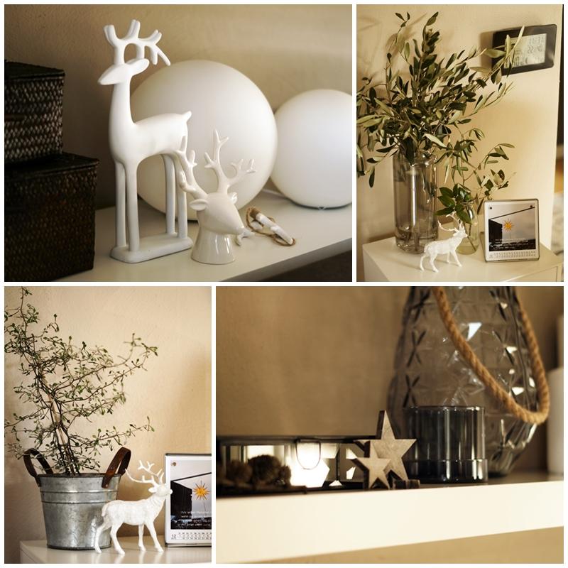 Blog + Fotografie by it's me! - Rooming, Weihnachtsdeko 2015 - Collage Keramik-Elche, Holzsterne und Olivenzweige