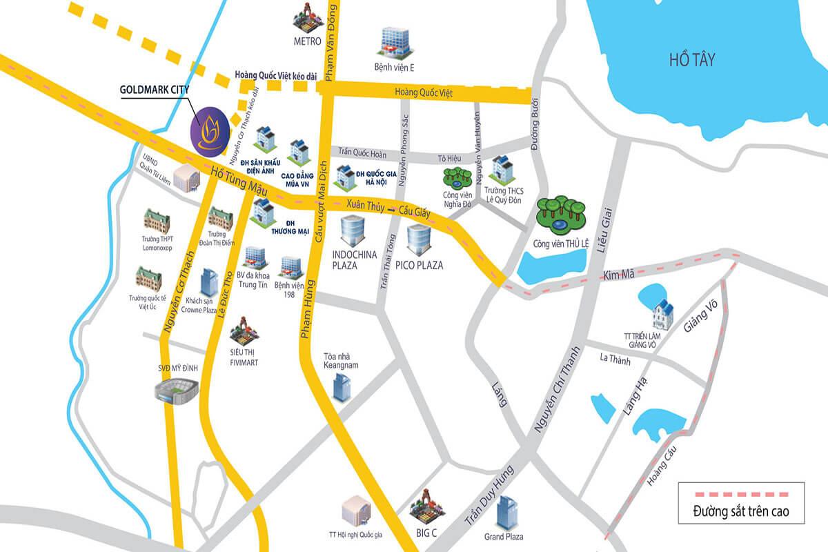 Vị trí chung Cư Tnr Goldmark City