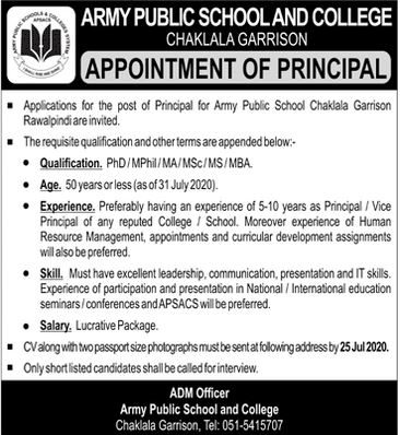APS Peshawar Jobs 2020 Army Public School & College Current Opportunities