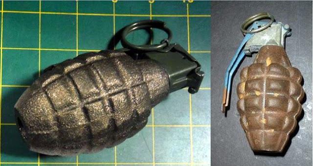 Inert hand grenades.