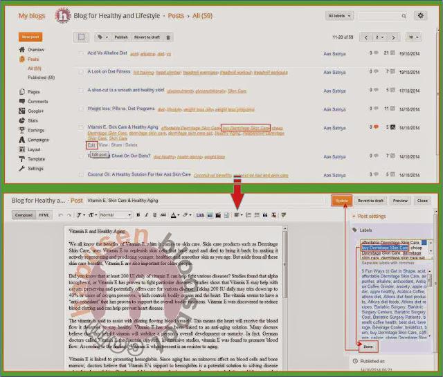 Cara menghapus label post yang sudah di publish,edit label,hapus label,