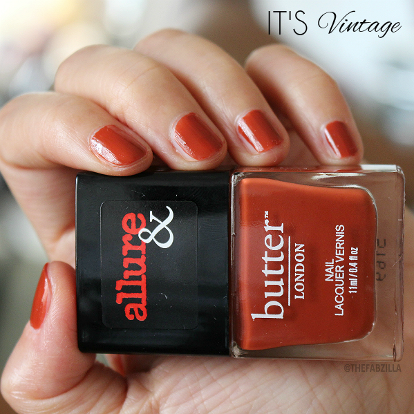 allure and butter london arm candy nail polish collection, swatch, review, giveaway, fall 2015 nail polish collection, butter london arm candy it's vintage swatch