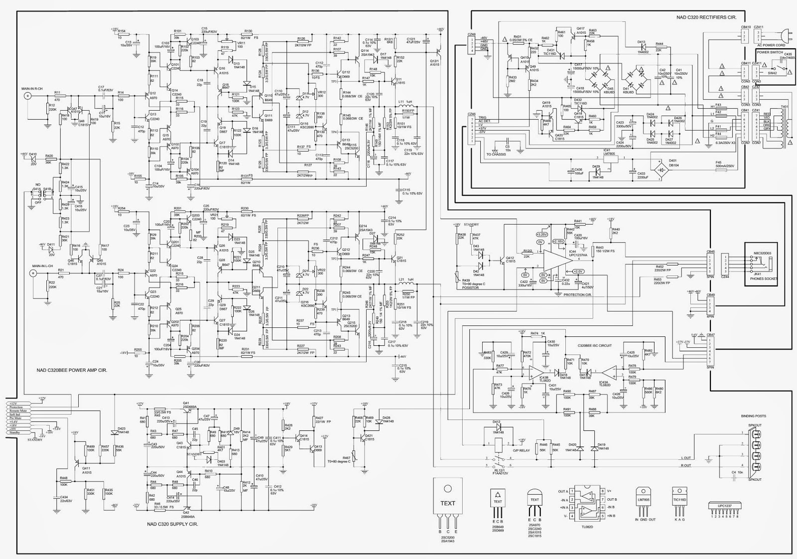 Nad C 320 Power Amp Schematic Circuit Diagram Stereo