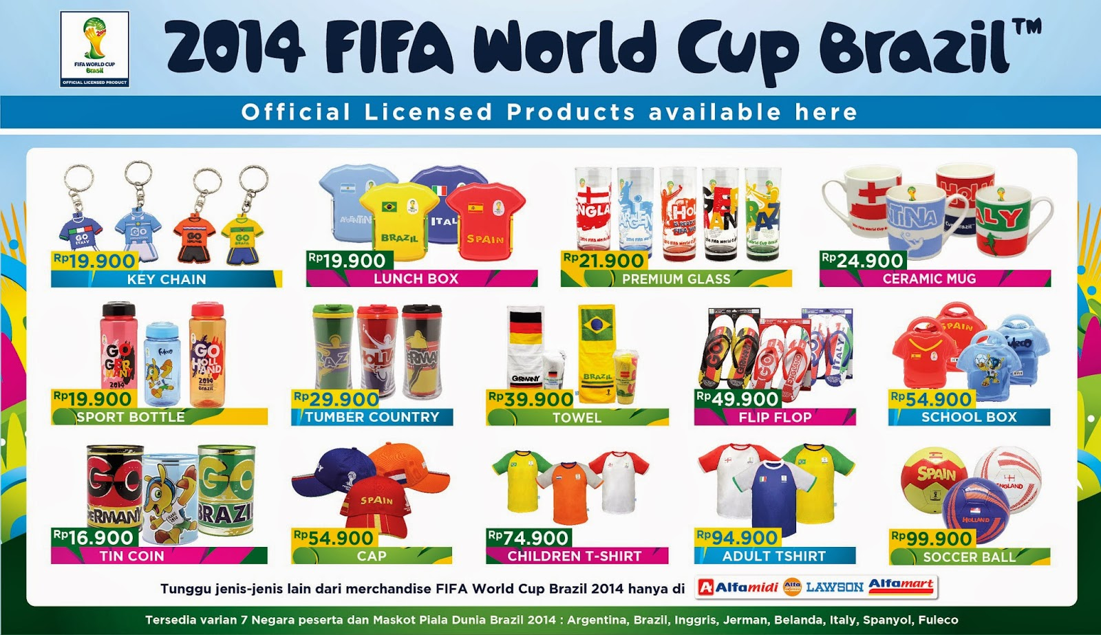 Produk Alfamart official licensed merchandise FIFA piala dunia Brazil 2014