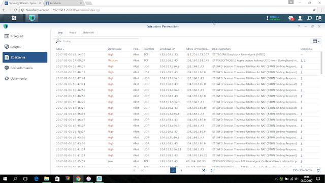 Screen ze zdarzeniami wykrytymi przez Intrusion Prevention w Synology RT2600ac