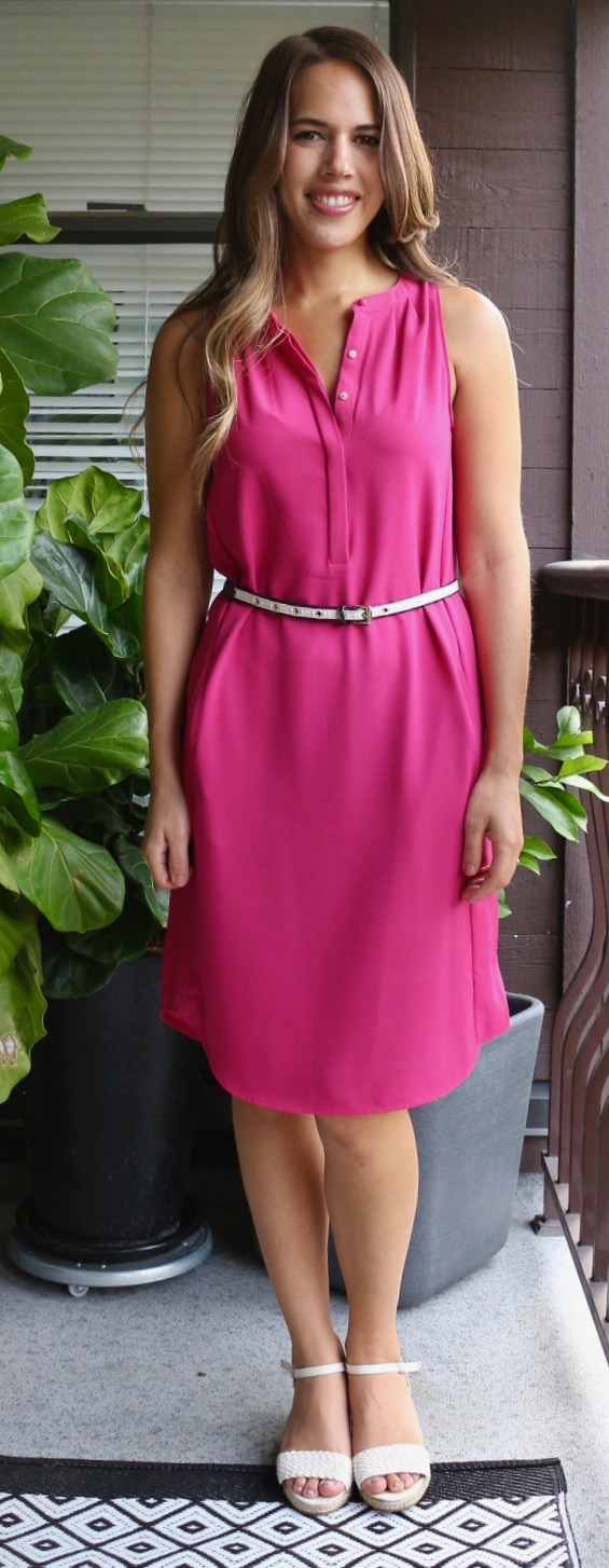 Jules in Flats - Pink Pleated Midi Shirt Dress for Summer