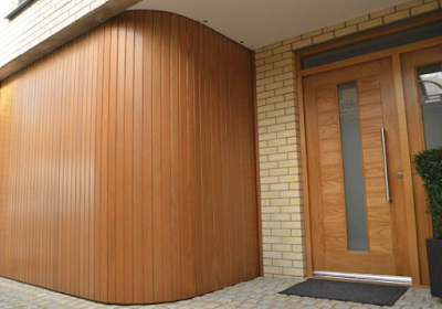 Sliding wooden garage door