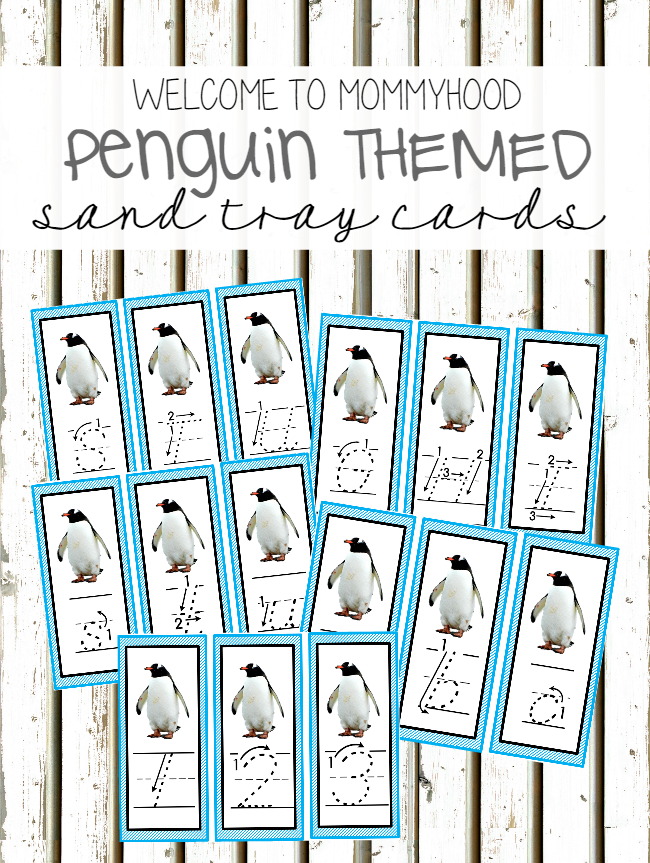 Free Montessori Inspired Penguin sand tray Cards by Welcome to Mommyhood #freeprintables, #homeschool, #montessori, #montessoriactivities, #writing, #preschoolactivities #kindergartenprintables