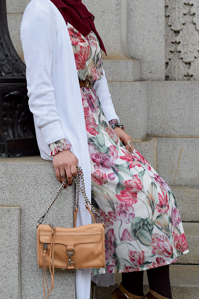 Floral Print Round Collar Long Sleeve Dress - Duster Cardigan - Peep toe bootie - Mirrored sunglasses - BaubleBar Crystal Mason Ring - Rebecca Minkoff Mini MAC - fall floral dress