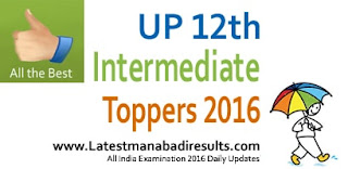 UP Board 12th Intermediate Topper 2016, UP 12th Class Toppers List 2016 Name wise, UP Board 12th School Topper District wise