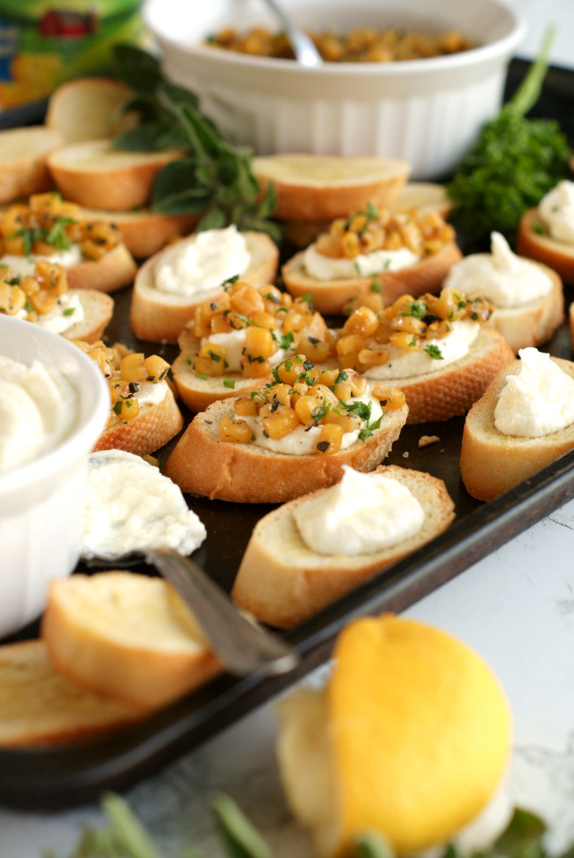 Whipped Feta and Corn Crostini