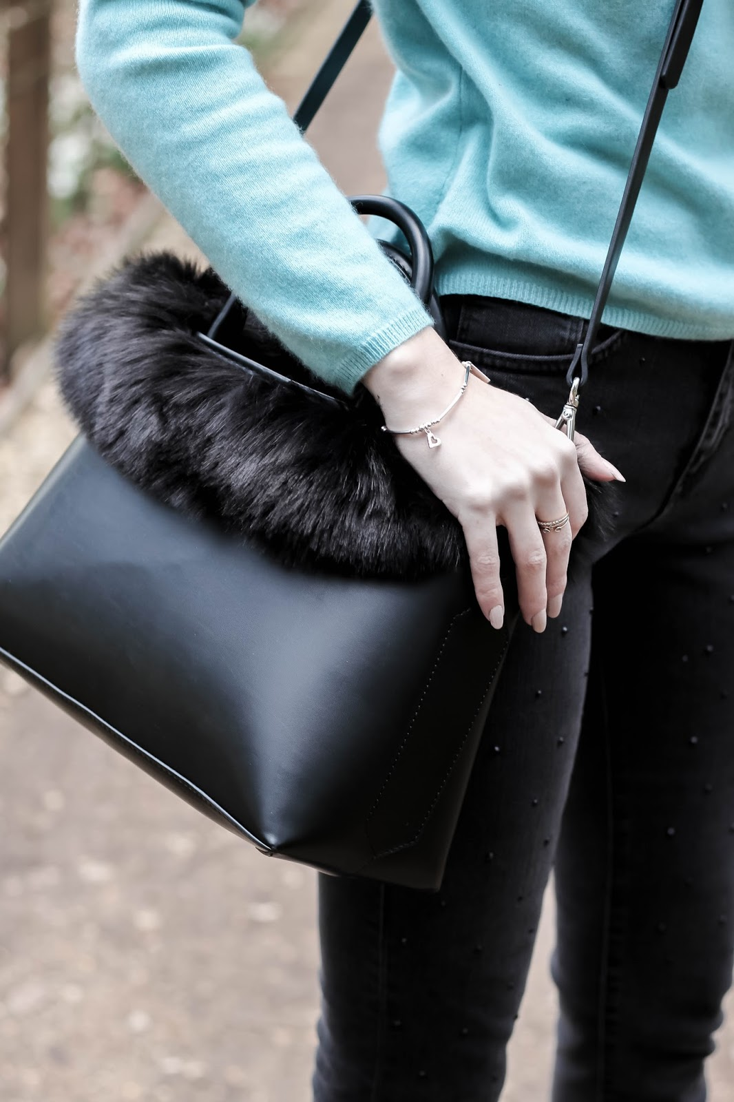 Zara Black Faux Fur City Bag Strap