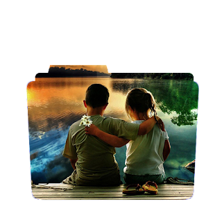 Preview of child couples, Sunset, little boy and girl, wallpaper folder icon