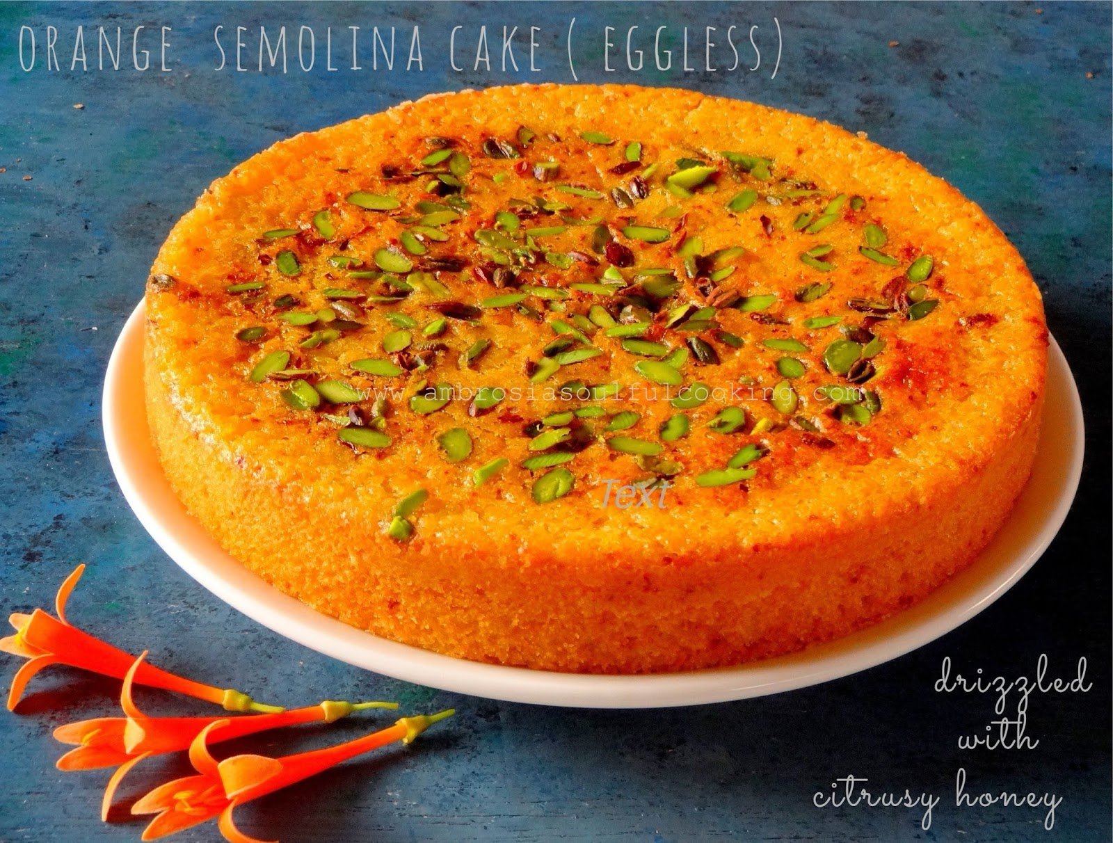 Diet Cake Recipes Low Fat Eggless: Orange Semolina Cake (Eggless And Low Fat) Drizzled With