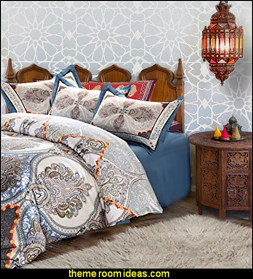 Moroccan bedding Moroccan Wall Stencil Moroccan bedroom decorating ideas Moroccan themed