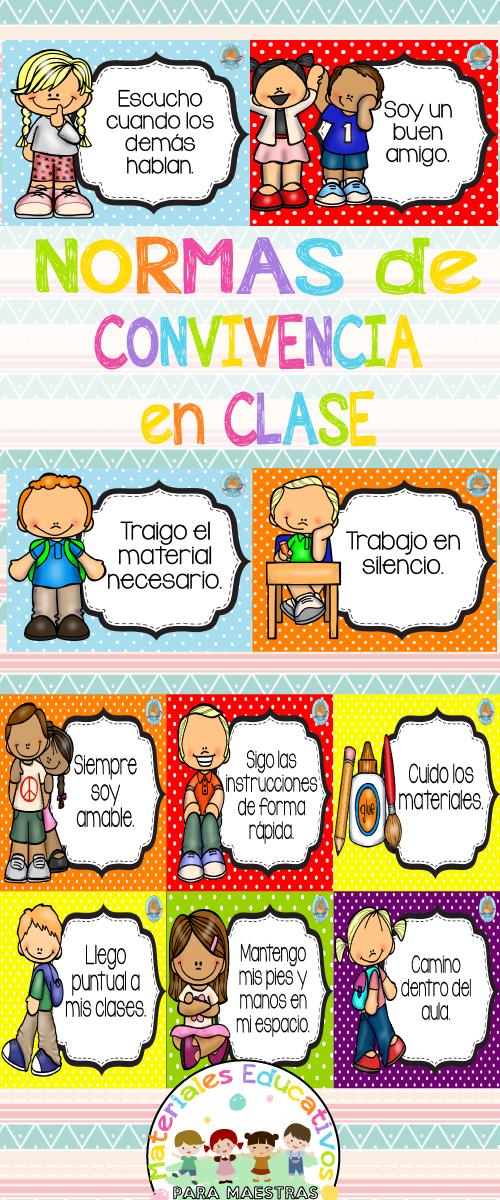 Normas de convivencia en clase de Materiales Educativos para Maestras