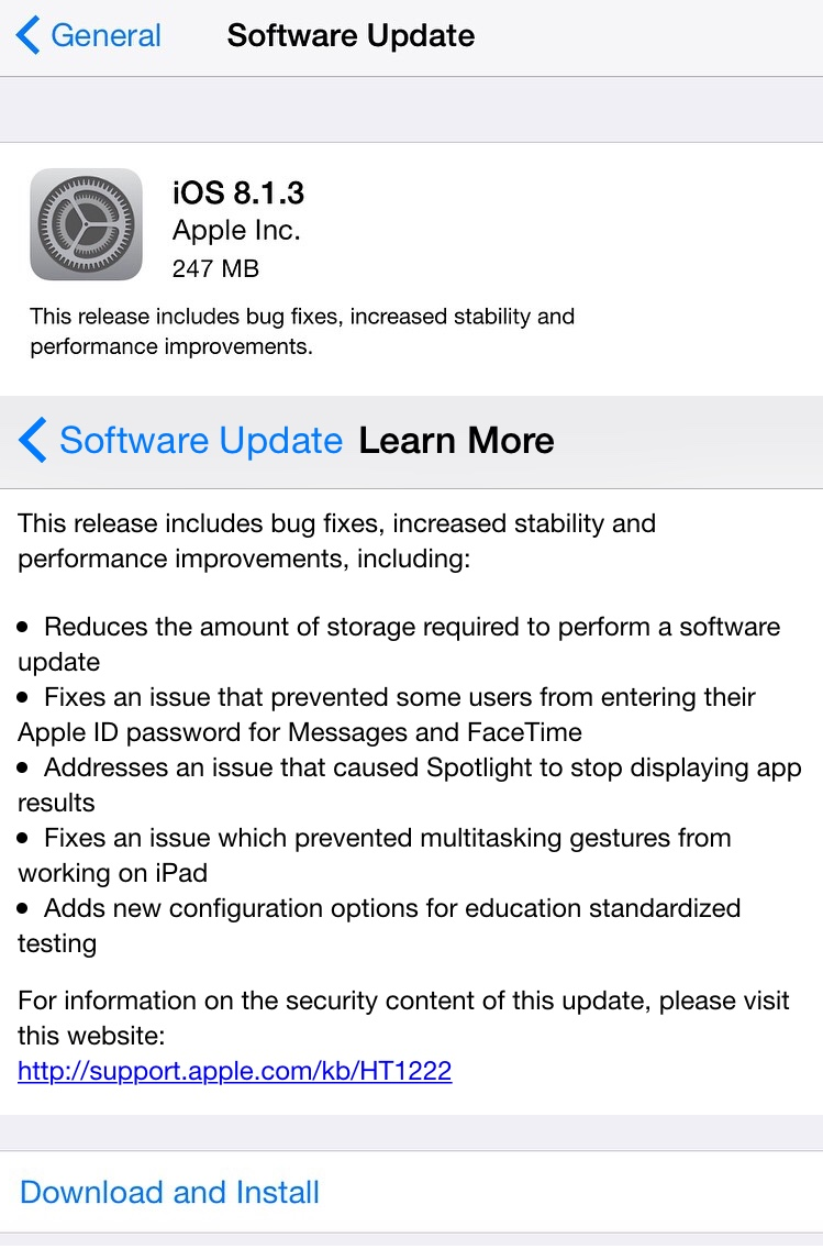 Apple iOS 8.1.3 (12B466) Firmware Features and Changelog